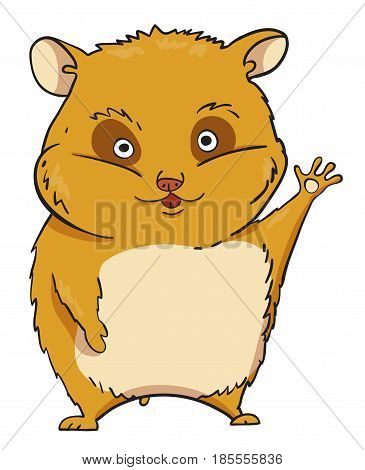 Cartoon image of waving hamster. An artistic freehand picture.