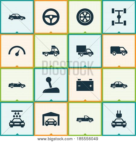 Automobile Icons Set. Collection Of Chronometer, Stick, Truck And Other Elements. Also Includes Symbols Such As Lorry, Convertible, Tire.
