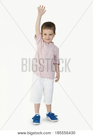 Caucasian Little Boy Cheerful Raising Hand