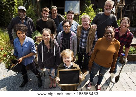 Group of diversity people with gardening