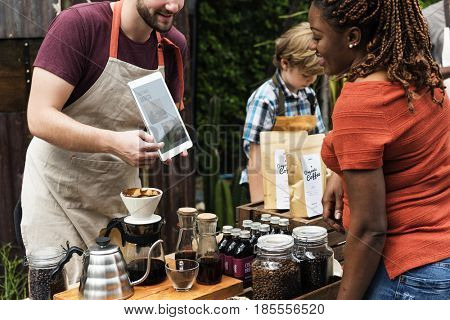 Man introduce coffee product natural