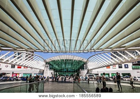 Lisbon, Portugal - May 7, 2017: Oriente Train Station, Lisbon, Portugal
