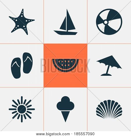 Season Icons Set. Collection Of Forceps, Sweets, Sunny And Other Elements. Also Includes Symbols Such As Sunny, Beach, Ball.