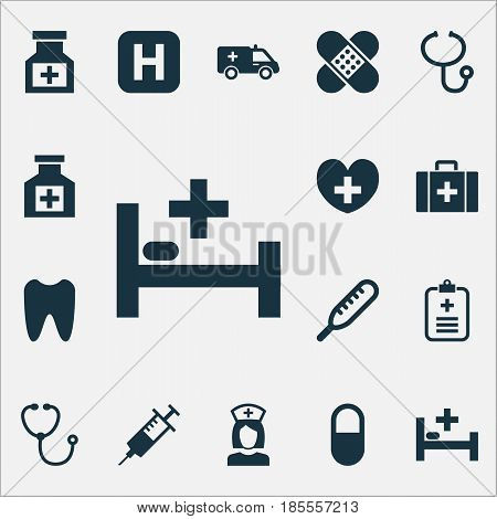 Antibiotic Icons Set. Collection Of Pellet, Heal, Painkiller And Other Elements. Also Includes Symbols Such As Stethoscope, Case, Pellet.
