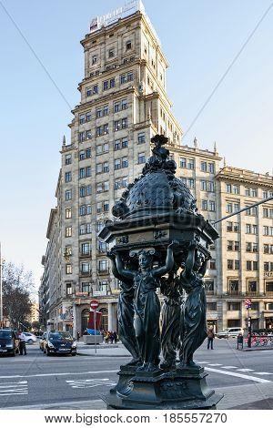 Barcelona, Spain - May 7, 2017: Architecture sculptural decoration on Avinguda Diagonal