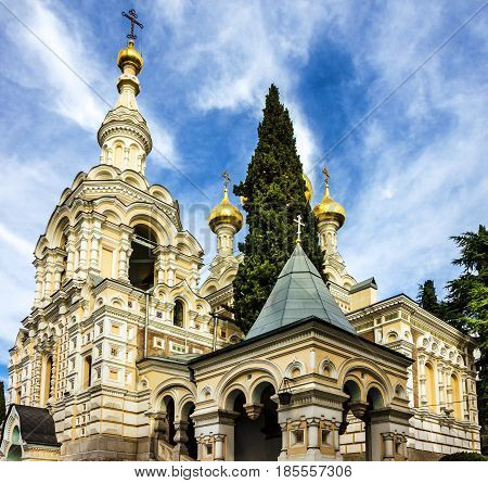 Church cupolas in Yalta, Crimea, Russia. Alexander Nevsky Orthodox Cathedral.