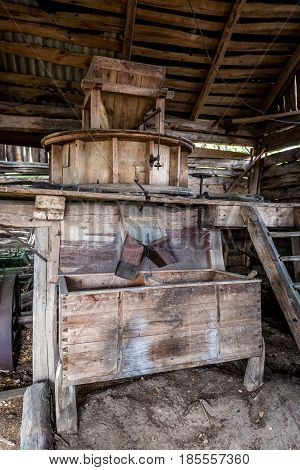 Threshing machine in esolate Mashevo village in Chernobyl Exclusion Zone Ukraine