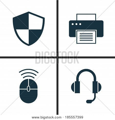 Notebook Icons Set. Collection Of Computer Mouse, Defense, Printing Machine And Other Elements. Also Includes Symbols Such As Printing, Printer, Shield.