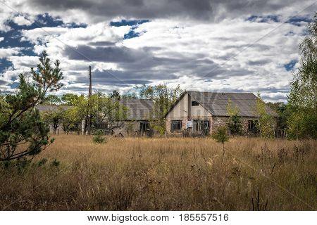 Desolate Mashevo village in Chernobyl Exclusion Zone Ukraine