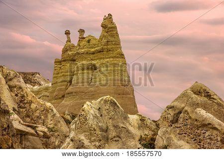 Volcanic rock mountain landscape view, Cappadocia, Turkey.