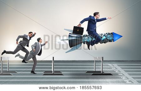Competition concept with businessman and rocket