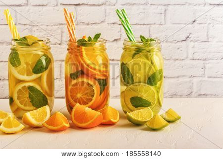 Detox Fruit Infused Water. Refreshing Summer Homemade Cocktail.