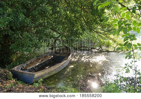 Old forgotten boat covered with fallen leafs in the lake