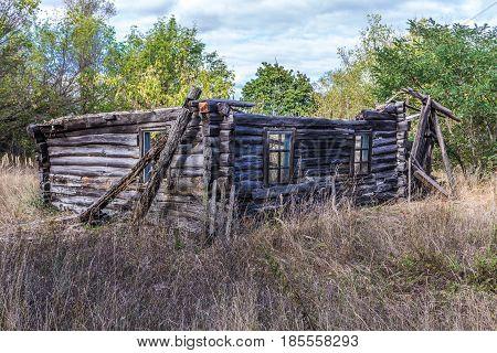 Building in desolate Mashevo village in Chernobyl Exclusion Zone Ukraine