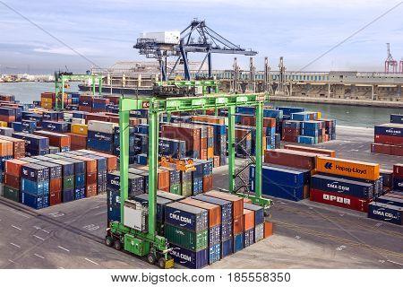 Casablanca, Morocco - May 9, 2017: Container terminal in Casablanca sea port, Morocco