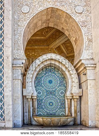 Morocco, Casablanca mosque Hassan II decoration washstand