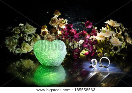 Wedding Card, Wedding Rings. Wedding Bouquet, Background. Flowering Branch With White Delicate Flowe