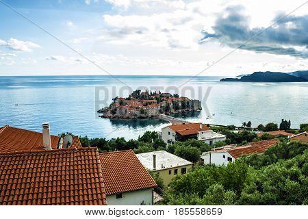 Summer resort landscape Island of Saint Stephen, Budva, Adriatic sea, Montenegro