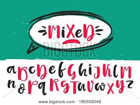 Black and red mixed lowercase and uppercase handwritten vector brush pen alphabet on green background inside white dialog balloon.