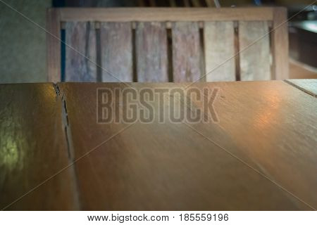 Brown Wooden Table And Chair stock photo