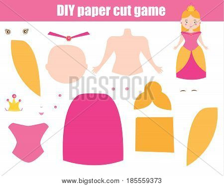 DIY children educational creative game. Make a princess girl in pink dress with scissors and glue. Paprecut activity. Creative printable tutorial or kids.