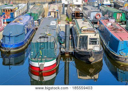 Boats And Yachts Moored At Limehouse Basin Marina
