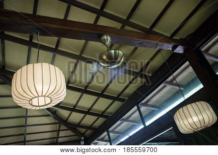 Interior Decorating Hanging Lantern Lamps stock photo