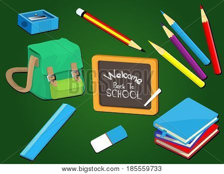 Welcome back to school. Education background design with school supplies set. Colorful vector illustration.