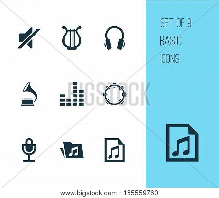 Multimedia Icons Set. Collection Of Dossier, Mike, Phonograph And Other Elements. Also Includes Symbols Such As Microphone, Mike, Folder.