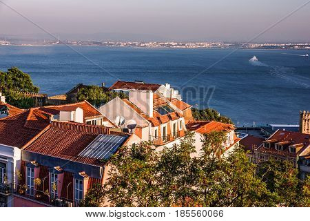 Panoramic view of Lisbon, Portugal. Tagus River Panorama