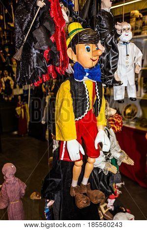 PRAGUE CZECH REPUBLIC - JAN 16 2017: Pinocchio in marionette shop in Prague