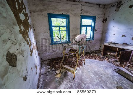 Doctor's office in Zymovyshche ghost village of Chernobyl Exclusion Zone Ukraine
