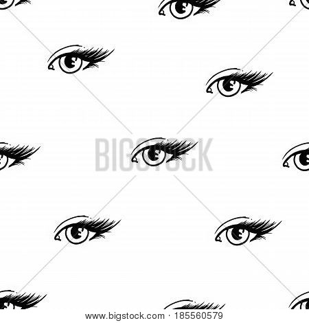 Beautiful open female eyes with long eyelashes is isolated on a white background. Makeup template illustration. Graphic sketch handwork. Seamless pattern for design