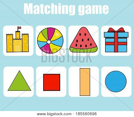 Educational children game. Matching game worksheet for kids. Learning shapes activity