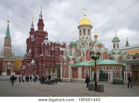 MOSCOW, RUSSIA - APRIL 14, 2015: The Cathedral of the Kazan Icon of the Mother of God on a cloudy day