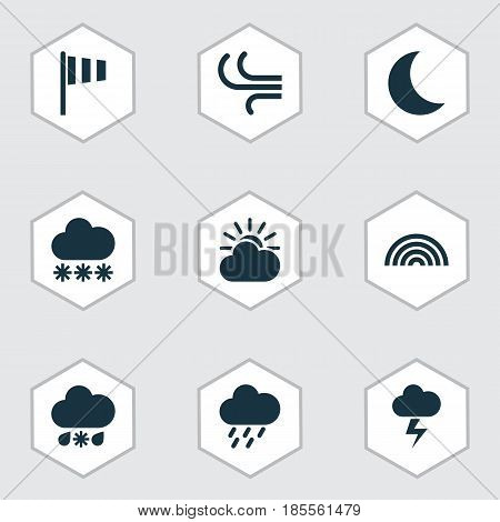 Climate Icons Set. Collection Of Flag, Breeze, Sun-Cloud And Other Elements. Also Includes Symbols Such As Shower, Flag, Colors.