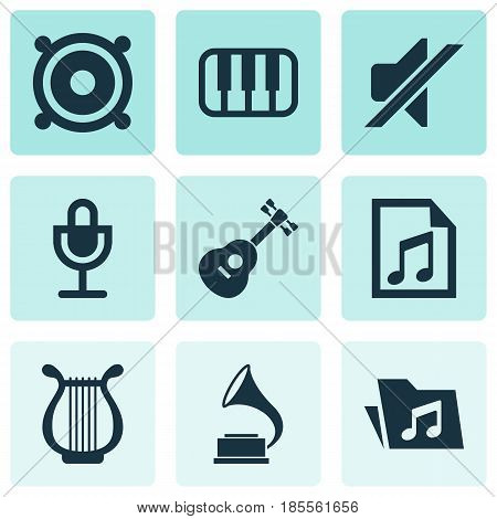 Multimedia Icons Set. Collection Of File, Instrument, Phonograph And Other Elements. Also Includes Symbols Such As Speaker, Playlist, Antique.