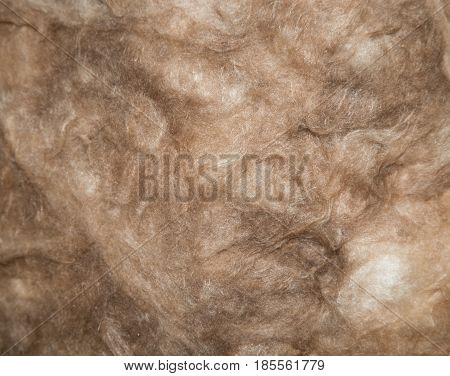Close up of a glass wool roll for insulation purpose, side view with details .