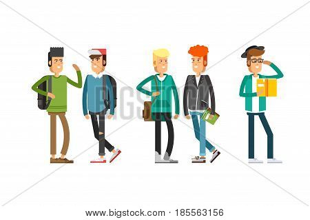 Flat illustratuion set of students with books. Fashion students. Young and stylish boy. Hipster students. Trendy youth. Beautiful young people. Friends