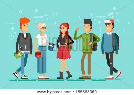 Flat illustratuion set of students with books. Fashion students. Young and stylish girl and boy. Hipster students. Trendy youth. Beautiful young people. Friends