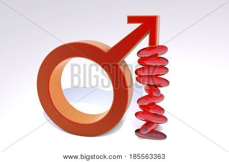 Impotence treatment concept. 3D illustration showing male symbol supporting by impotence pills