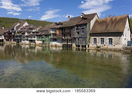 River Loue in Ornans Jura Franche-Comte France