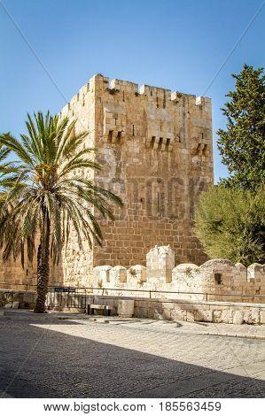 The Jerusalem Citadel the Tower of David Museum near Jaffa Gate in Old City of Jerusalem Israel