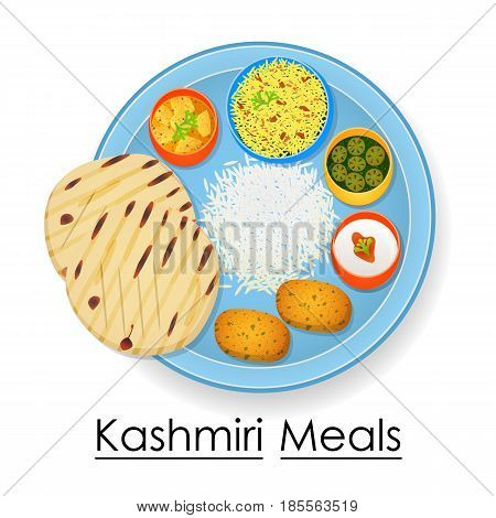 vector illustration of Plate full of delicious Kashmiri Meal from India
