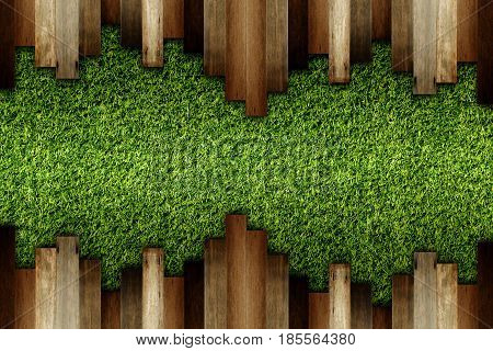 wooden on green artificial turf pattern texture for background.