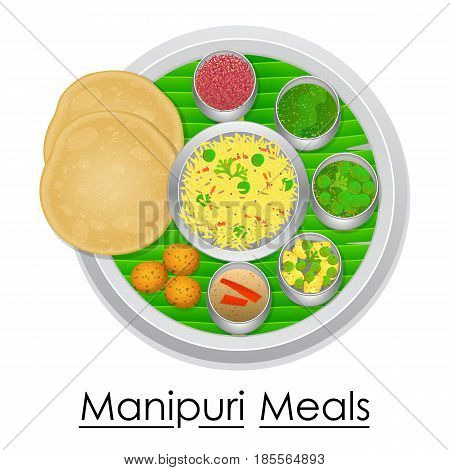 vector illustration of Plate full of delicious Manipurl Meal from India