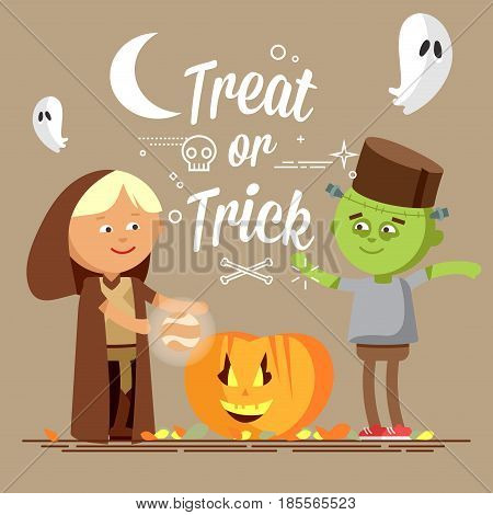 Happy Halloween. Cute cartoon children in colorful halloween costumee, frankenstein and wizard. Flat illustration of halloween kids walking on night street