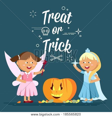 Happy Halloween. Cute cartoon children in colorful halloween costumee, snow queen and faerie. Flat illustration of halloween kids walking on night street