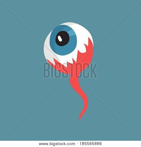 Eye flat icon. Catoon ilustration of eye. Halloween scary object