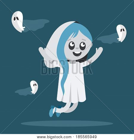 Little girl with blue hair dressed up as ghost. Scary costume for celebrating Halloween.